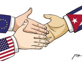 """新闻漫画:欧美争对古巴外交""""先手""""?"""